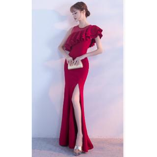 赤 ワンショルダー フリル キャバドレス ワンピ ドレス セクシー レッド(ロングドレス)