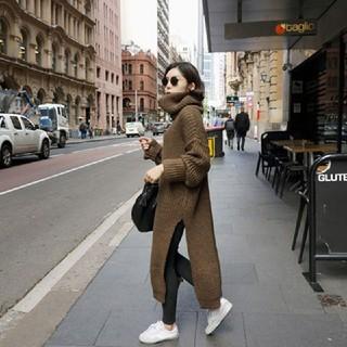 TODAYFUL - 韓国ファッション 高襟のニットワンピース 緩いセーター サイドスリット