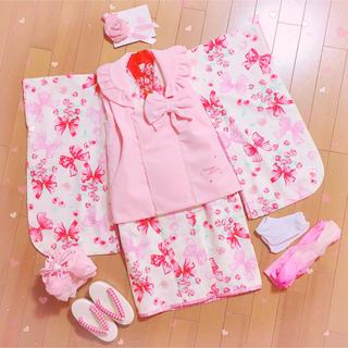 mezzo piano - 美品✧*。 メゾピアノ  ♡ 七五三3歳着物セット 女の子 被布 ピンク 髪飾り