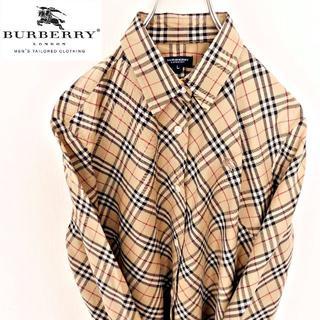 BURBERRY - バーバリー シャツ ノバチェック柄 ベージュ 刺繍ロゴ L