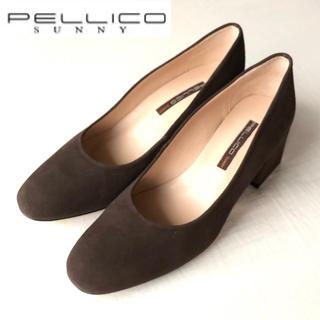 PELLICO - 美品 PELLICO SUNNY チャンキーヒールスウェードパンプス37茶
