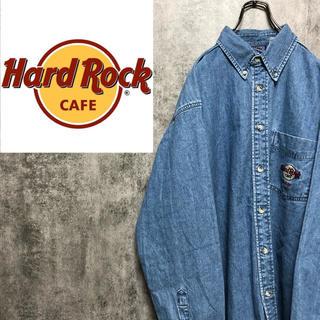 【激レア】ハードロックカフェ☆バックギター刺繍ロゴDALLASデニムシャツ