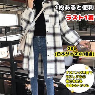 【人気】 ロング丈 チェック シンプル オーバーシャツ ワンピース♡(シャツ/ブラウス(長袖/七分))