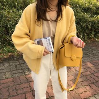 新作 韓国ファッション Vネック ニットカーディガン  セーター     黄