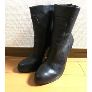 アッシュ(ASH)のASH レザー ショートブーツ ブラック ピンヒール(ブーツ)