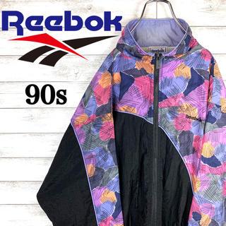 Reebok - 【激レア】リーボック☆花柄バイカラーナイロンジャケット 90s