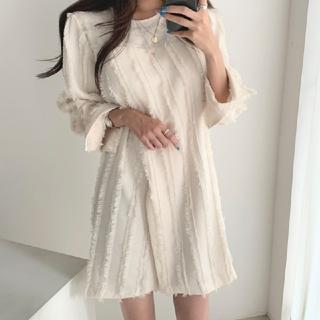 snidel - 2カラー 韓国シック エレガント ラウンドネック 縁取られた スプリットドレス