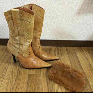 マウジー(moussy)のmoussy 蛇 本革 ショートブーツ(ブーツ)