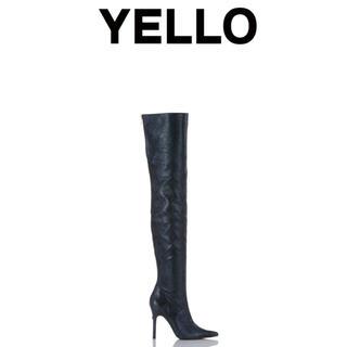 イエローブーツ(Yellow boots)のYELLO リアルフェイクパイソン ニーハイブーツ(L)(ブーツ)