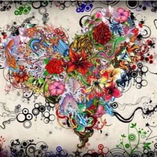 A2サイズ 花ハートのアート ダイヤモンドアート ビーズアート