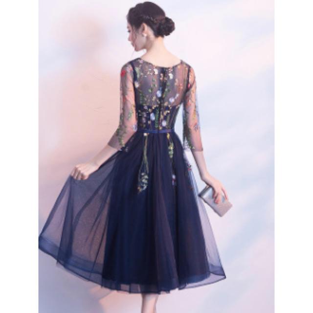 花柄 刺繍 ドレス 結婚式 クリスマドレス パーティー L レディースのフォーマル/ドレス(その他ドレス)の商品写真