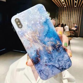 ブルー ホワイト 大理石 iPhone ケース(iPhoneケース)