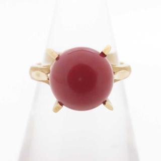 日本産天然血赤珊瑚約8.1mm K18 3.0g リング(リング(指輪))