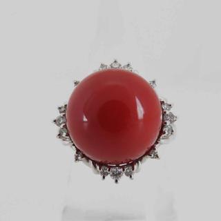 日本産天然血赤珊瑚約13.3mm D0.22ct PT900 12.8g リング(リング(指輪))