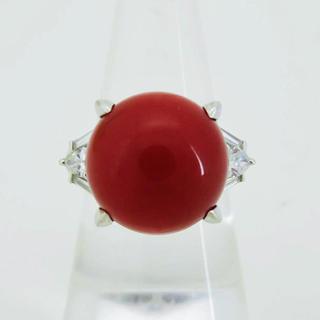 日本産天然血赤珊瑚約13.0mm D0.63ct PT900 12.1g リング(リング(指輪))
