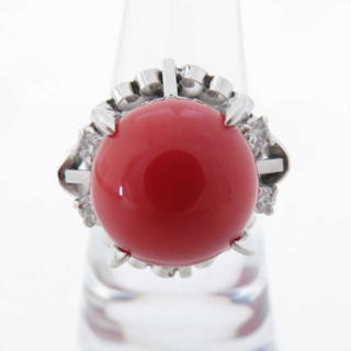 日本産天然血赤珊瑚 直径 約12mm D0.20ct PT 8.7g リング(リング(指輪))