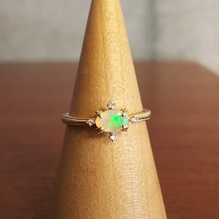 BIZOUX:K18YGオパール×ダイヤモンドリング(12号)(リング(指輪))