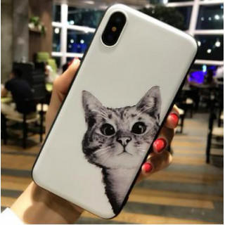 iphoneケース 猫柄 TPUケース ソフトシェル フィット iphoneX(iPhoneケース)