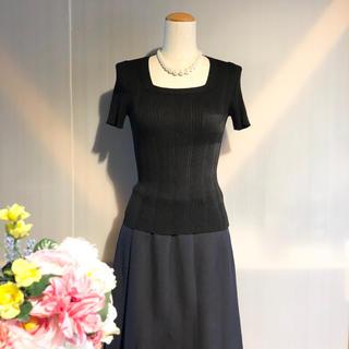 【23区】エレガントスクエアネック 半袖カットソー ブラック