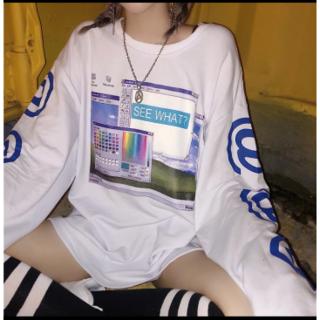 オーバーサイズの女性の Tシャツプリント女性シャツは長袖 Tシャツルーズ女性 T(Tシャツ(長袖/七分))