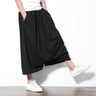 【XL/ブラック】サルエルパンツ ガウチョパンツ ポケット有 @3(サルエルパンツ)