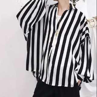 43 メンズ ストライプ シャツ ドルマン型 おしゃれ 韓国ファッション(シャツ)