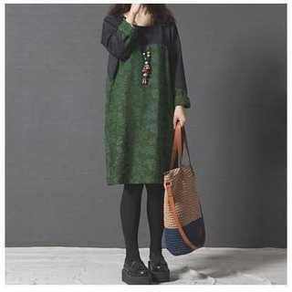 黒 緑 ボタニカル ワンピース 長袖 花柄 ひざ丈 レディース 大きいサイズ(ひざ丈ワンピース)