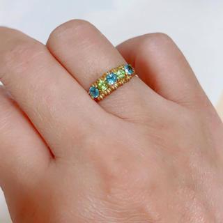 k18金ゴールド指輪 リンク重ね付けクリアブルー&イエローグリーンネックレス(リング(指輪))