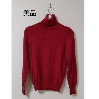 赤  ハイネックニット  タートルネックセーター(ニット/セーター)