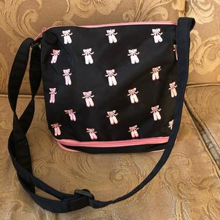 ピンクのバレエシューズ刺繍のバレエバッグ(バレエシューズ)