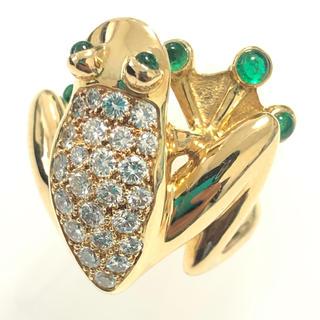 かえる かえる カエル エメラルド ダイヤモンド リング 指輪 ゴールド k18