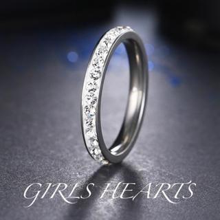 送料無料11号訳ありシルバースーパーCZダイヤステンレスフルエタニティリング指輪(リング(指輪))