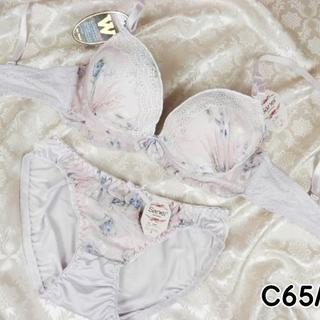 020★C65 M★美胸ブラ ショーツ Wパッド 花プリント 薄紫(ブラ&ショーツセット)