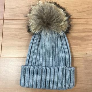 dholic - ニット帽 ニットキャップ ファー ポンポン グレー