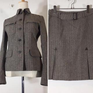 ユナイテッドアローズ(UNITED ARROWS)の美品 ユナイテッドアローズ スカートスーツ ブラウン ストライプ ウール シルク(スーツ)