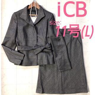 ICB - ICB スカートスーツ 11号 L ママスーツ 黒x白