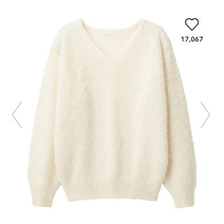 GU - 【GU】ふんわりフェザーヤーン Vネックセーター