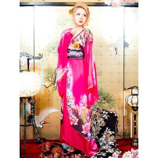 dazzy store - 花魁♡ビジュー&ビーズ付和柄着物風振袖ロングドレス