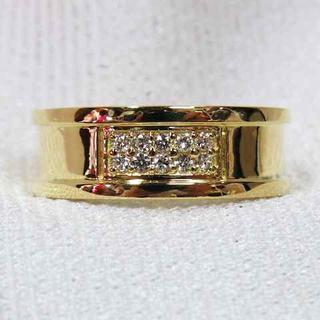 稀少なメンズリング!K18YG製ダイヤ入り指輪#約28号☆美品キラキラ♪(リング(指輪))