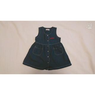 ミキハウス(mikihouse)のMIKIHOUSE;美品 デニムジャンバースカート ワンピース 110㌢(ワンピース)