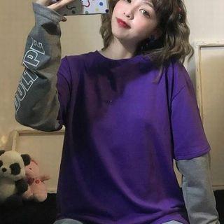 新品【訳あり】重ね着風 長袖 Tシャツ レディース 紫×グレー ゆったり[メ](Tシャツ(長袖/七分))