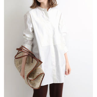 IENA - IENA バンドカラーロングシャツ 38 ホワイト