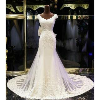 高品質! ウエディングドレス   ホワイト  マーメイドライン  ロングトレーン