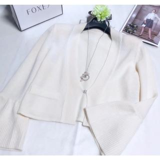 FOXEY - フォクシー ✼ Pointelle Flare Cardigan ✼ ホワイト