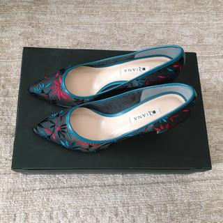 DIANA - 【美品】DIANA 刺繍パンプス ブルー ダイアナ サイズ25cm