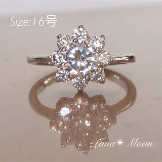 雪の結晶デザインCZダイヤリング(16号)★シルバーカラー、巾着付き、即日発送(リング(指輪))