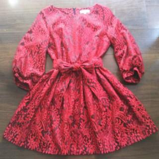 パーティー ドレス ワンピースブラック 結婚式 バルーン袖 レッド 長袖 冬用