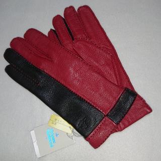 ヴィヴィアンウエストウッド(Vivienne Westwood)の新品 ヴィヴィアンウエストウッド 手袋 レザー 鹿革 オーブ レッド(手袋)