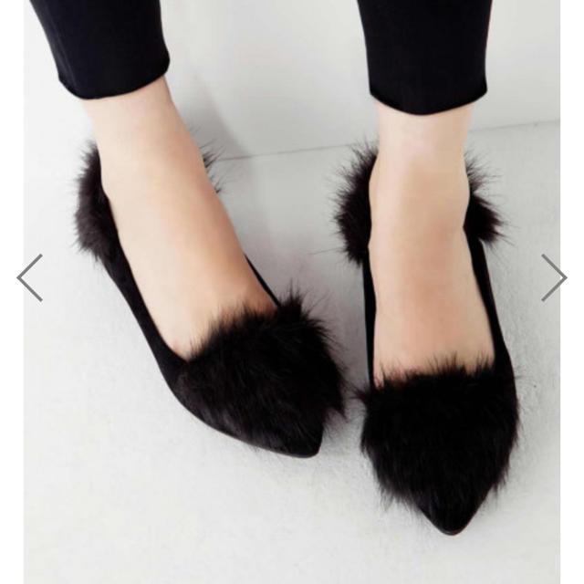 GRL(グレイル)のファー付きフラットシューズ レディースの靴/シューズ(バレエシューズ)の商品写真