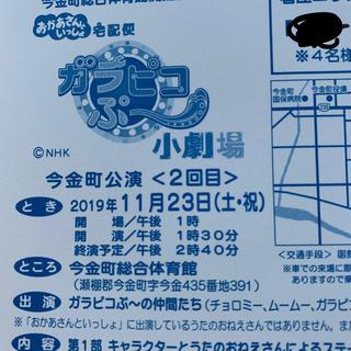11/23 ガラピコぷ~小劇場 入場整理券4人様 函館 今金町